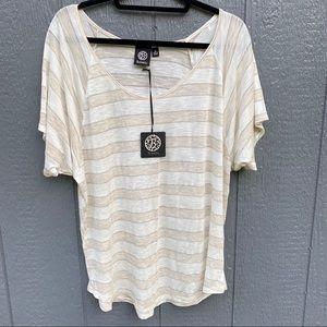 Bobeau Striped Short Sleeve Top Blouse  XL NWT